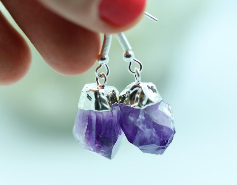 Twelve Raw Amethyst Points Pair of earrings BREAMPE-12