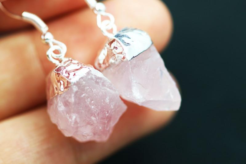 Raw Rose Quartz Points Pair of earrings BRERQE-1