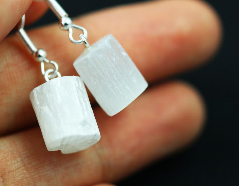 Raw Selenite Pair of earrings BRASELE-1
