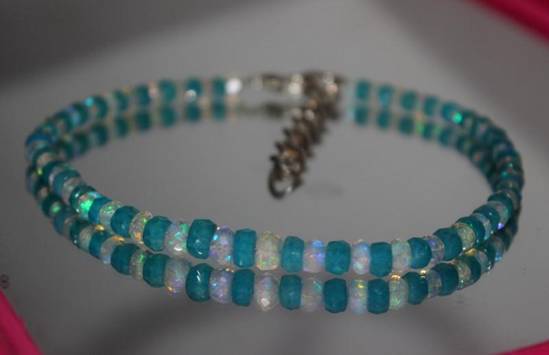 23 Crts Natural Ethiopian Welo Blue & White Faceted Opal Bracelet 243