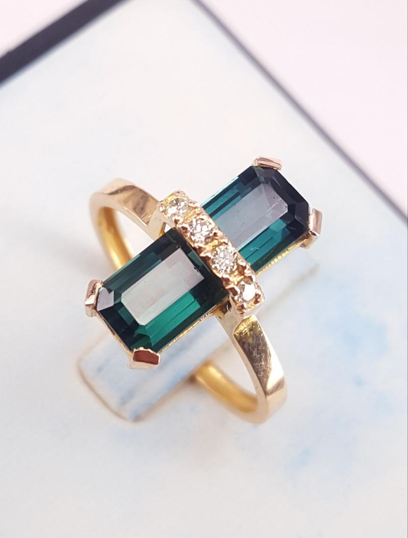 18k Gold Natural indocolite tourmaline&Diamond Ring.