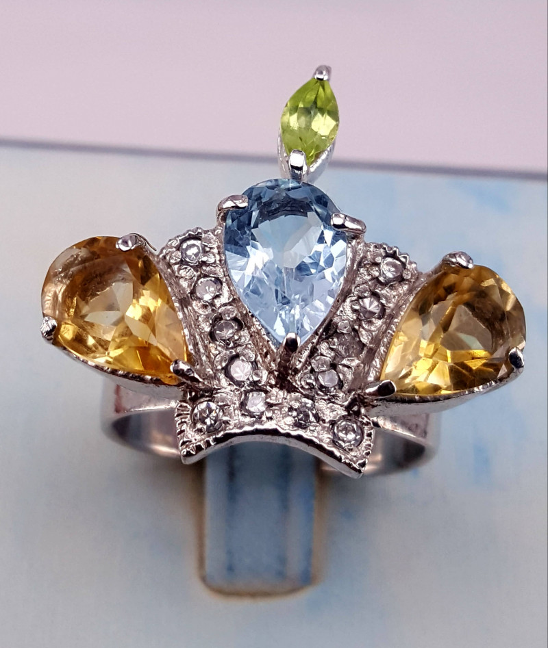 Natural Topaz,Citrine,peridot with CZ Ring.