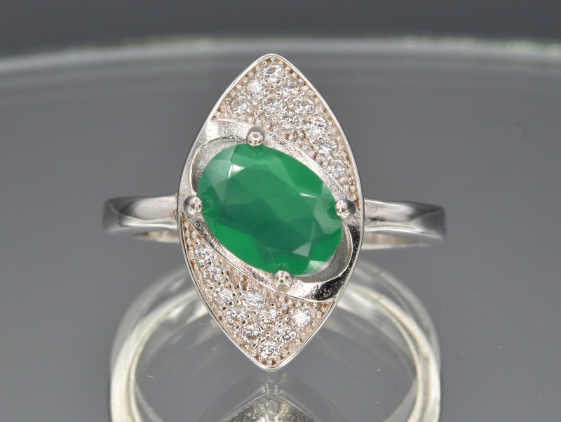 Natural Green Agate, CZ and 925 Silver Ring