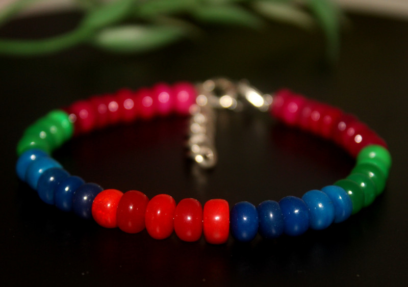 50 Crts Natural Ethiopian Welo Multi Color Opal Bracelet 301