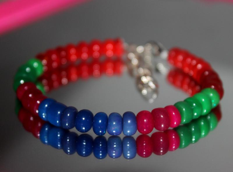 51 Crts Natural Ethiopian Welo Multi Color Opal Bracelet 294