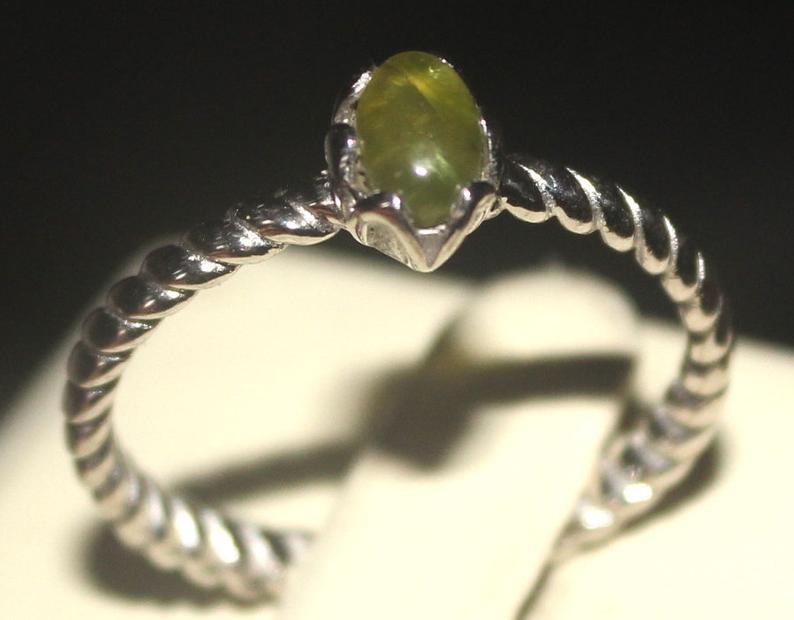 Natural Peridot 925 Silver Ring 122