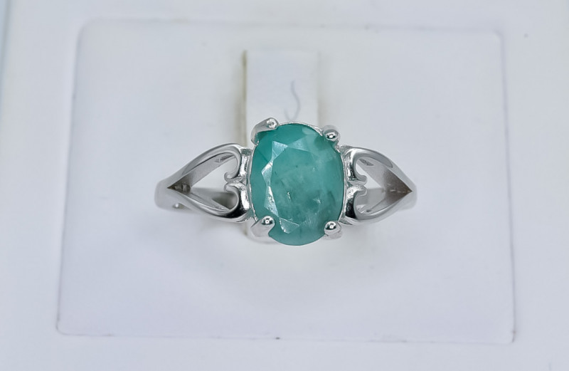 13.35 Crt Natural Emerald  925 Silver Ring