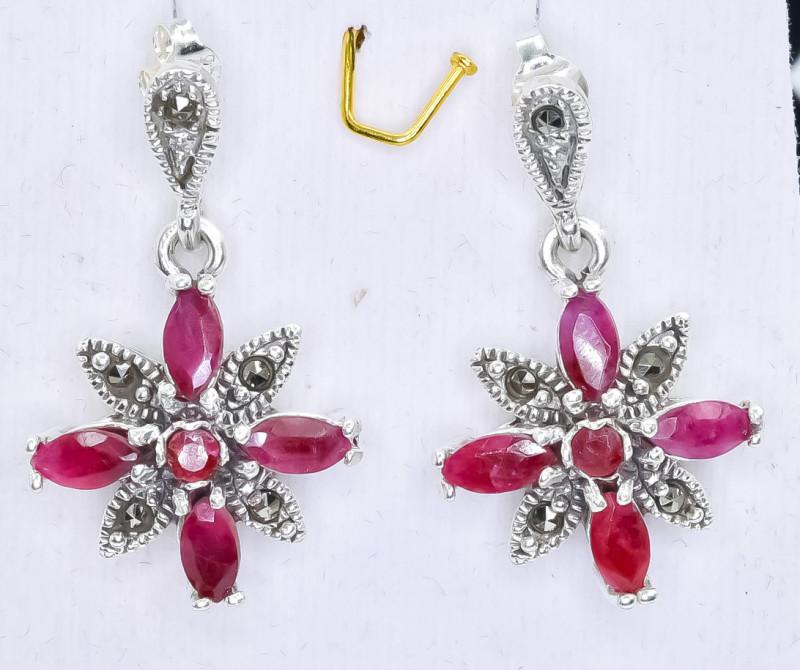 41.88 Crt Natural Ruby 925 Silver Earrings