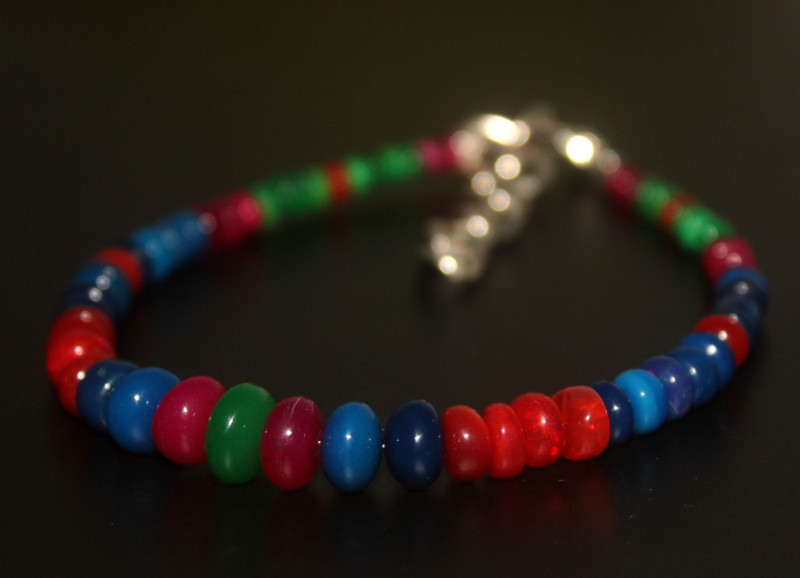 26 Crts Natural Ethiopian Welo Multi Color Opal Bracelet 304