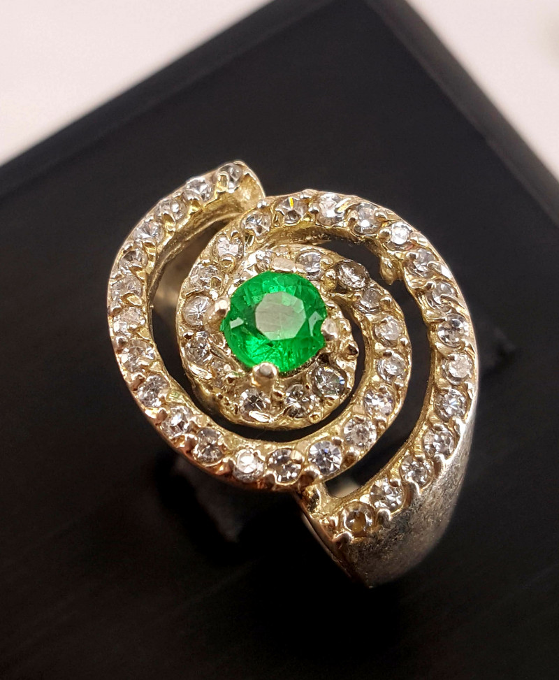 Top Natural Emerald with CZ Ring.