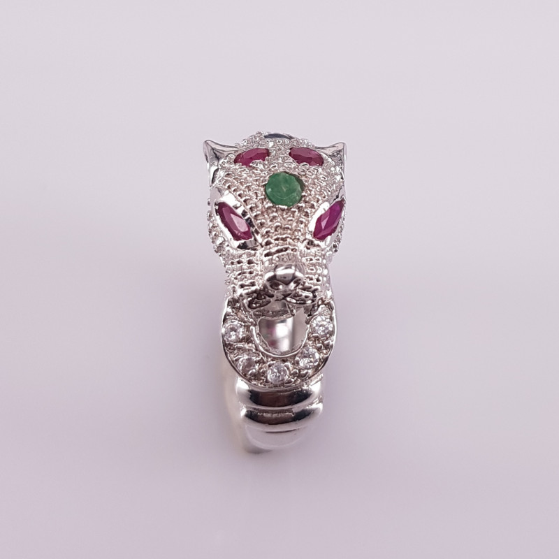 Fantastic Design Natural Emerald and Ruby Ring