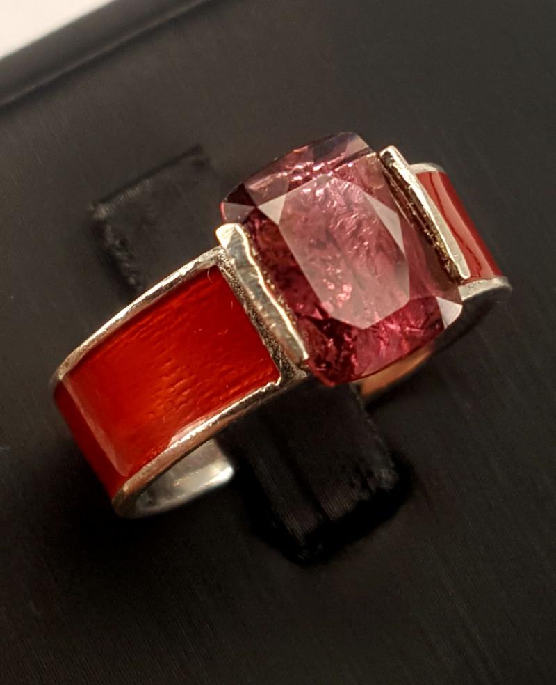Natural RubiliteTourmaline Ring