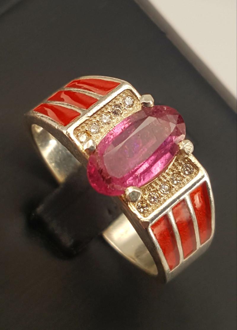 Natural Rubelite Tourmaline Ring.
