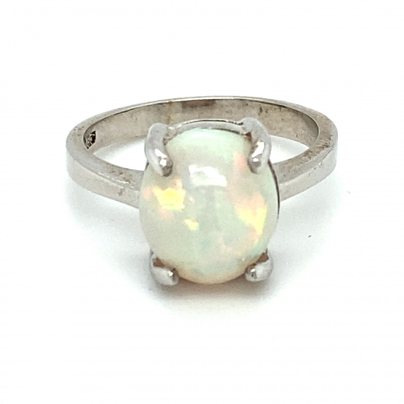Precious Opal 3.75ct Platinum Finish Solid 925 Sterling Silver Ring
