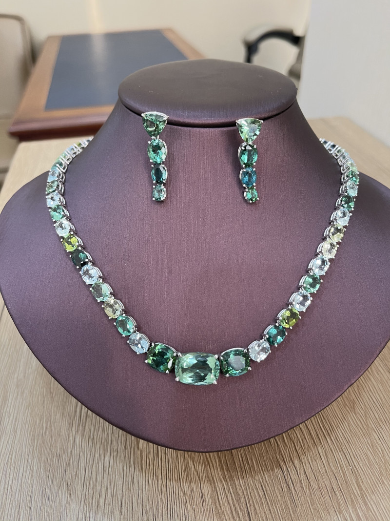 Natural Tourmaline, Aquamarine and 18K White Gold Jewelry Set