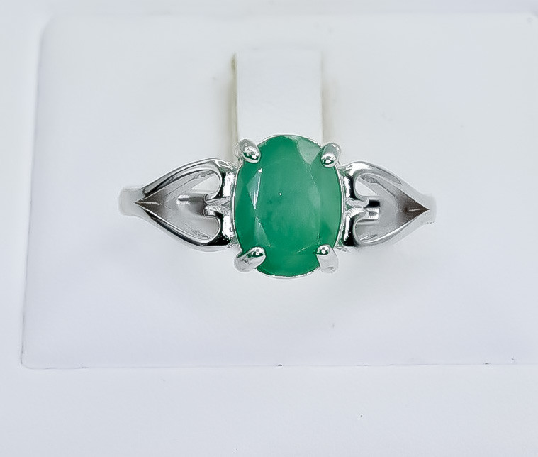 14.29 Crt Natural Emerald 925 Silver Ring