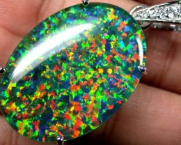 POPULAR FASHION OPAL PENDANTS RHODIUM  PLATED SCA 535 ML