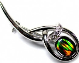 TRIPLET SIMULANT OPAL BROOCH WITH DIAMANTEES ML BR6 b