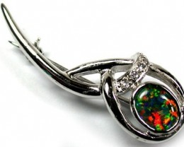 TRIPLET SIMULANT OPAL BROOCH WITH DIAMANTEES ML BR5