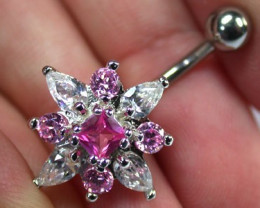 CUTE LARGE PINK JEWELLED FLOWER BELLY BUTTON RING RN 1171