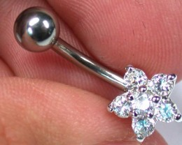 CUTE FLOWER JEWELLED BELLY BUTTON RING RN 1175