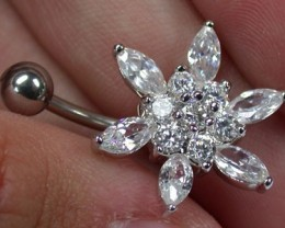 CUTE LARGE FLOWER JEWELLED BELLY BUTTON RING RN 1177