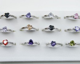 RESELLERS TRAY OF 12HEART  RINGS  @ $2.50 PER RING AAT 304