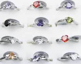 RESELLERS TRAY OF 12 HEART  RINGS  @ $2.50 PER RING AAT306