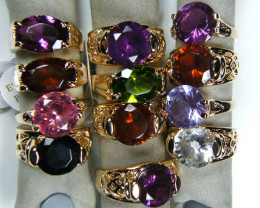 RESELLERS  DEAL12 MIXED  MAN MADE  GEMSTONE RINGS  AAT 758