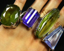 RESELLERS  DEA L 8 LARGE   MAN MADE  GEMSTONE RINGS  AAT 763
