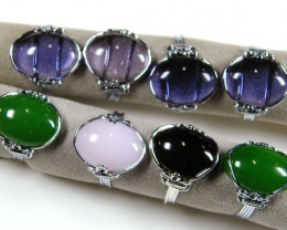 RESELLERS  DEAL 8 JADE/QUARTZ  WIRE WRAP  RINGS  AAT 808