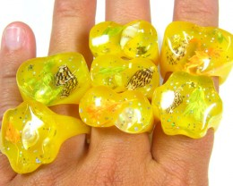 RESELLERS  DEAL 48 SHELL IN RESIN   RINGS  AAT 1131