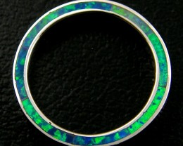 SILVER RING IMO OPAL INLAID ON SIDE RING SIZE 10  AAT833