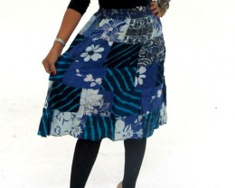 Patchwork Cotton Mid Length Skirt  & Earrings OP21