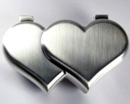 DUAL HEART SHAPE JEWELRY TRINKET BOX  GRR 604