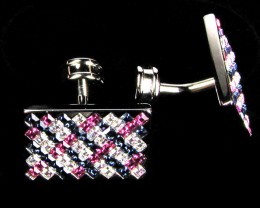 COLOURFUL RUBY SAPPHIRE  MENS CUFFLINKS IN GIFT BOX AAT 1707