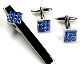 SAPPHIRE BLUE TIE N  MENS CUFFLINKS IN GIFT BOX AAT 1708