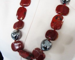 UNIQUE FASHION SILVER RED FIRE  NECKLACE    QT148