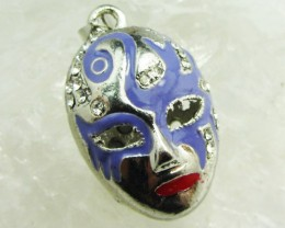 FREE SHIPPING ENCLOSED MAUVE MASK PENDANT   QT 629