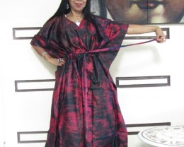 Silk Kaftan Dress  Burgandy hues OP 1403