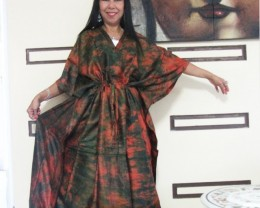Silk Kaftan Dress Earthly hues  OP 1409
