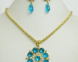 Alankar's Firoza or Turquoise colored Pendant with chain and earrings