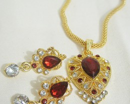 Alankar's Dazzling Pear Shaped Maroon Pendant & Earring Imitation Jewel