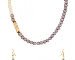 Alankar's Lavender & White designer necklace set with earrings