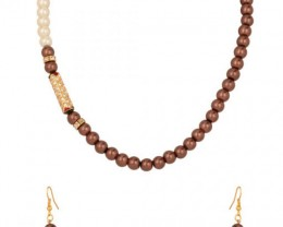 Alankar's Brown & White designer pearl necklace with earrings
