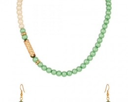 Alankar's Light Green & White Necklace set with Earrings