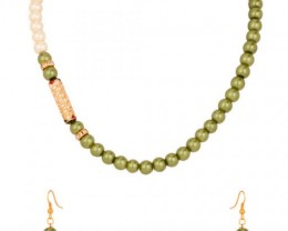 Alankar's Olive Green & White designer necklace set with earrings