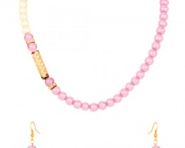 Alankar's Pink & White designer necklace set with earrings