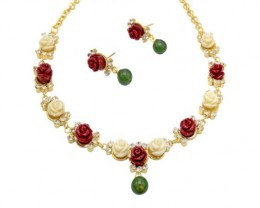 Alankar's carved red & white coral roses necklace set.