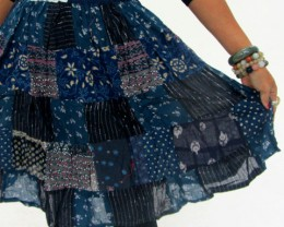 Patchwork Cotton Mid Length Skirt & Earrings OP 25